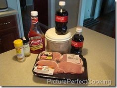 Coca cola pork chops. Place 4 porkchops in baking dish. Salt and pepper to taste. Mix 1 cup coke and 1 cup ketchup together. Pour over chops. Sprinkle with brown sugar. Bake uncovered at 350 degrees for 1 hour. Very tasty!!