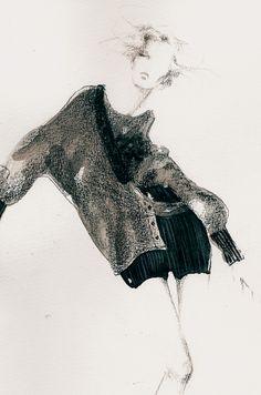 Fashion illustration - pencil  watercolour fashion sketch // Myrtle Quillamor