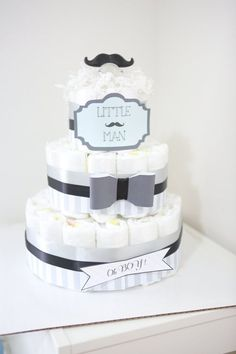 Adorable Little Man Mustache Diaper Cake for Child Boy / Child Bathe Centerpiece / child bathe present / bow black grey / Child Room Ornament / distinctive