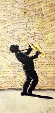 Sax Man - playing jazz on saxaphone. Mixed media sheet music , acrylics on 4ftx2ft canvas. Original art by artist Cherish Fletcher. Facebook.com/cherishedwhimsyART