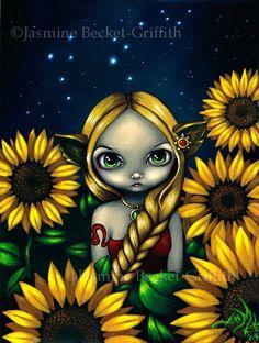 Leo astrological lion sunflower sign fairy art by strangeling, $13.99