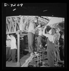 B17 Flying Fortress heavy bomber production.  Women working at the Boeing plant Seattle.  Dec 1942