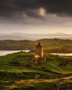 "National Geographic Travel's Instagram post: ""Photo by @jimrichardsonng / A glowing sunset lit up St. Clement's Church at Rodel on the Isle of Harris. Looking south the islands of…"" Isle Of Man, Custom Wall Decals, Wall Sticker, Isle Of Harris, National Geographic Travel, Travel Wallpaper, Artwork Pictures, 15th Century, Landscape Photographers"
