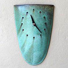 pottery Clocks   Ceramic Sheild Clock by Mangum Pottery