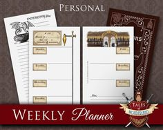 PRINTABLE WEEKLY PLANNER – Potions theme – Personal size – Monday & Sunday start  • Undated Weekly Planner • Potions Divider • Notes Page  Print these pages as many times as you need. This product is perfect for your Personal size Filofax or any similar sized organizer. Margins are left on the pages for hole-punching.  SIZE : • Personal (95x171mm, 3.7x6.7 inches)  You will receive the high resolution PDF files in Personal size, Personal on A4 and Personal on Letter (with crop marks), with...