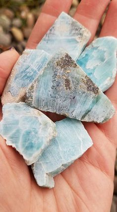 Larimar raw pieces  tranquil Sea and Sky energies by MagicaLuna