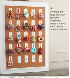 Framed Advent Calendar of favourite ornaments - an idea for when I don't want to put up a tree! - from Canadian Tire Flyer