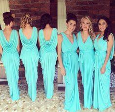 Stunning pastel teal bridesmaid dresses
