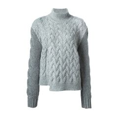 STELLA MC CARTNEY Chunky Turtle Neck Jumper (27.810 RUB) ❤ liked on Polyvore featuring tops, sweaters, grey, cable sweater, gray cable knit sweater, grey cable knit sweater, cable knit sweater and chunky turtleneck sweater