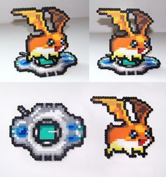 FOR SALE Perler Bead Patamon w/ Digivice Stand by NerdyNoodleLabs on deviantART