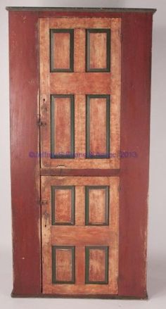 """COUNTRY PAINTED PINE CHIMNEY CUPBOARD, upper and lower single doors, each set with four raised panels and concealing two fixed shelves, applied top and base moldings. Old dry painted surfaces. 19th century. 81"""" H, 38"""" W, 19"""" D.  Fair condition with moderate wear, one top molding detached but present, interior shelves with staining. Provenance: Property from the Estate of Nicholas de Belleville Katzenbach, Princeton, New Jersey."""