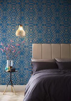 Graham and brown wallpaper Small Room Bedroom, Master Bedroom Design, Bedroom Colors, Bedroom Decor, Cozy Bedroom, Master Suite, Bedroom Ideas, Teal Wallpaper, Home Wallpaper