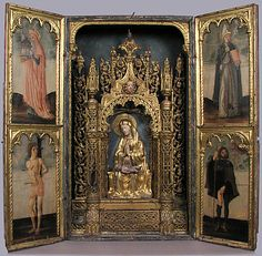 Altar Shrine with Four Saints Unknown Date: ca. 1450–75 Geography: Made in, Venice, Italy Culture: Italian Medium: Oil and gold leaf on wood panel