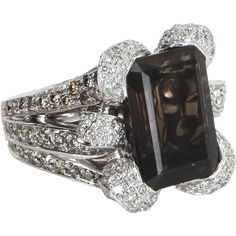 Ruby Lane Red Tag 30% Off Sale! - Smoky Topaz Diamond Cocktail Ring Vintage 18 Karat White Gold Estate Fine Jewelry