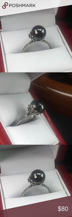 Pandora Black onyx statement ring WOW Absolutely beautiful brand new never worn size 8 Pandora Jewelry Rings