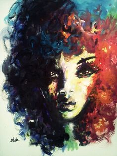 The girl with the colorful curls. #curlhair #art