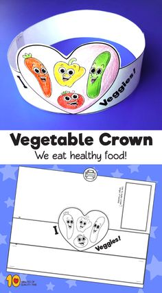 Vegetable Paper Crown - Decoration Fireplace Garden art ideas Home accessories Fruit Crafts, Food Crafts, Preschool Crafts, Crafts For Kids, Vegetable Crafts, Crown For Kids, Crown Crafts, Paper Crowns, Nutrition