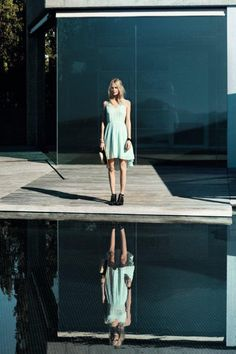 Feel fresh, wear MINT!  #mint #dress #blonde #model #girl #women #fashion #trend #style #look #fashion #outfit #clothes #water #reflection