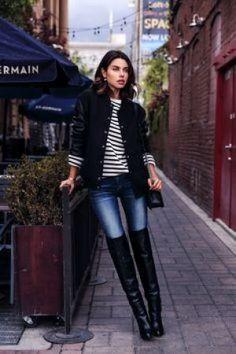 4. A bota over the knee é ótima para os dias mais frios. Use com calça jeans + camiseta listrada + jaqueta estilo bomber e bolsa preta.
