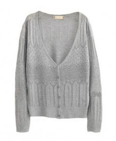 Hollow Out V-Neckline Knitted Cardigan in Grey