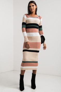 c4e4b594269 AKIRA Scoop Neck Long Sleeve Striped Mid-weight Maxi Sweater Dress in Multi
