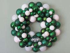 NEW YORK JETS Ornament Wreath. $59.00, via Etsy.