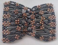 Elastic-Double-Combs-Handmade-Beaded-Flower-Hair-Clips-Hair-Holder-Ez-Hair-Comb