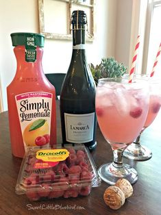 Easy Raspberry Lemonade Cocktail (Spritzer) by Sweet Little Bluebird - Weekend Potluck 384 Alcohol Drink Recipes, Sangria Recipes, Cocktail Recipes, Lemonade Cocktail, Raspberry Lemonade, Summer Drinks, Fun Drinks, Alcoholic Drinks, Summer Sangria