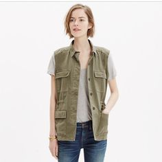 Madewell Military Vest Size XS Oversized Military Green vest. Has draw strings on the inside the chinch it in at the waste. Button closer. Definitely an oversized look. Could fit up to a medium possibly large. Worn a couple of times washed once. ***boots pictured also listed*** Madewell Jackets & Coats Vests