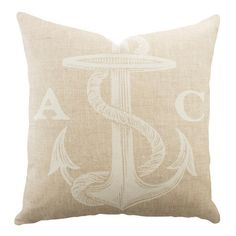Bring a personalized pop to your sofa or bed with this costal-inspired pillow. Handmade in the USA, this charming design is crafted from cotton denim and sho...