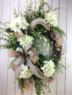 Front door wreath, Hydrangea Wreath, White Hydrangea Wreath, Hydrangea Wreath Spring, Summer Wreath, All Season Wreath by Keleas on Etsy https://www.etsy.com/listing/233650736/front-door-wreath-hydrangea-wreath-white