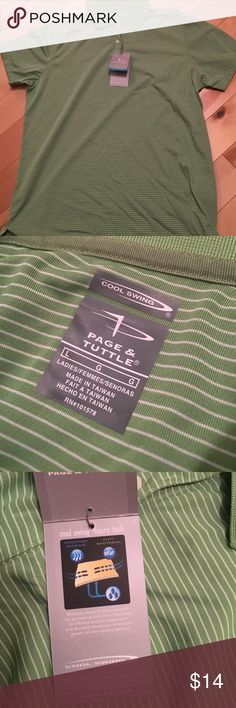 Ladies Golf Shirt Green & White striped golf shirt. Micro Tech Performance. page & Tuttle Tops