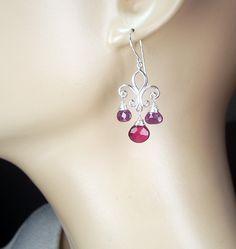Ruby Jewelry Ruby Chandelier Earrings Fleur de Lis Sterling Silver Wire Wrapped Gemstone July Birthstone Birthday Gift. $115.00, via Etsy.