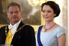 President of Finland Sauli Niinisto attended with his wife Jenni Haukio who looked chic in...