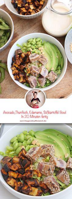 Avocado Tuna Edamame Sweet Potato Bowl Recipe - This bowl is a healthy and delicious salad made from ripe avocados, tuna, cucumber, sweet potatoes, - Edamame, Fish Recipes, Meat Recipes, Vegetable Recipes, Tuna Avocado, Ripe Avocado, Potato Bowl Recipe, Cowboy Caviar, Organic Recipes