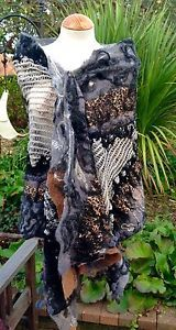 Handmade-nuno-silk-wool-felted-collage-shawl-Beige-Grey-black-tan-ooak