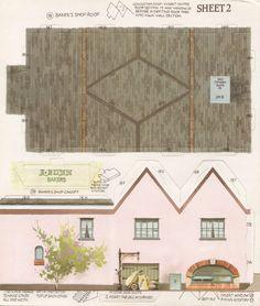 Toys and Stuff: Kellogg's UK Paper Village Sheet 2 Pt 5 - Baker's Shop Baker Shop, Paper Structure, House Template, Putz Houses, Village Houses, Miniature Houses, Mini Houses, Glitter Houses, Paper Houses