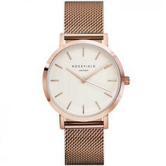 Eine stilvolle, roségoldene Armbanduhr aus Edelstahl im Mesh Look. Designt vom Label ROSEFIELD mit austauschbarem Armband und japanischem Uhrwerk.