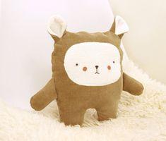 Bear Plushie   Nursery Decor   Eco Friendly   Upcycled Fabric   Handmade