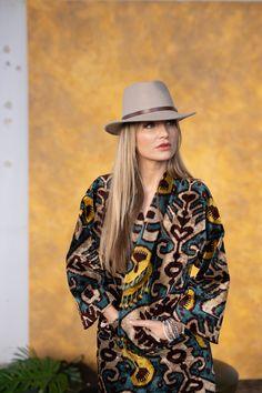 Velvet Coat Belle Ikat Mantel, Cowboy Hats, Bohemian, Velvet, Shirts, Rock, Fashion, Colour Combinations, Weaving