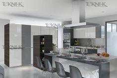 El diseño de esta cocina combina las tendencias actuales de los gris y neutros. Cocina en Cristal gris y Blanco extra claro, con un laminado en gabinetes color Electric Moon.