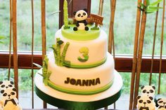 What a cute cake from a Panda Birthday Party!  See more party ideas at CatchMyParty.com!  #partyideas #panda