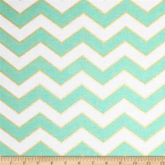 Michael Miller Glitz Metallic Chic Chevron Pearlized Mist from @fabricdotcom  From Michael Miller, this cotton print is perfect for quilting, apparel and home decor accents. Colors include mint green, white and metallic gold.