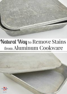 Remove Stains from Aluminum Cookware Naturally - Natural Home Cleaning Deep Cleaning Tips, House Cleaning Tips, Cleaning Solutions, Spring Cleaning, Cleaning Hacks, Cleaning Products, Homemade Toilet Cleaner, Cleaners Homemade, Clean Baking Pans