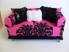 Doll House Sofa Couch Barbie Monster High Blythe Living Room 1 6 Furniture OOAK   eBay