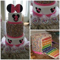 Minnie Mouse, sprinkle rainbow cake.