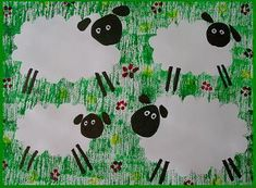 Ovečky v trávě – Preschool Farm Crafts, Farm Animal Crafts, Sheep Crafts, Art Drawings For Kids, Drawing For Kids, Art For Kids, Block Painting, Sheep Art, Farm Art