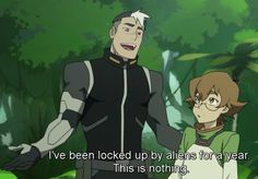 """""""Shiro wasn't even back on Earth for 1 day before he was ripped back right into space. Shiro got to: breathe his home planet's air, feel the sun on his skin, feel the ground under his feet, hear, see, ... touch natural flowing water... the wind, only to have it taken away again later that day. Which is why the line, """"I've been locked up by aliens for a year. This is nothing!"""" breaks my heart every time. ... He's genuinely grateful to be anywhere but Galra captivity"""" - by shiroisthenewblack"""