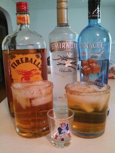 Caramel apple pie, on the rocks! One shot each of fireball and caramel vodka, splash of vanilla vodka and fill rest of apple juice. Rim the glass with brown sugar cinnamon mixture.