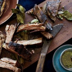 Chef Santiago Garat grills these lamb ribs at outdoor barbecue parties at the farm so they're crispy on the outside. The tangy, extra-herby chimichurri is a perfect partner for the rich meat. Tailgating Recipes, Tailgate Food, Grilling Recipes, Cooking Recipes, Smoker Recipes, Chef Recipes, Healthy Recipes, Lamb Recipes, Wine Recipes